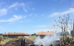 Bafra'daki samanlık Yangınına İtfaiye'den Yerinde Müdahale