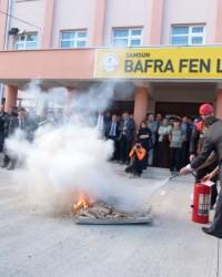 Bafra Fen Lisesinde Yangın Tatbikatı Yapıldı