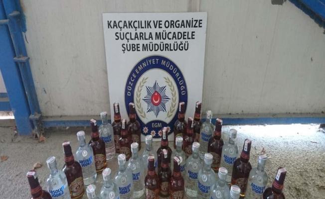Düzce'de kaçak içki ve sigara operasyonu