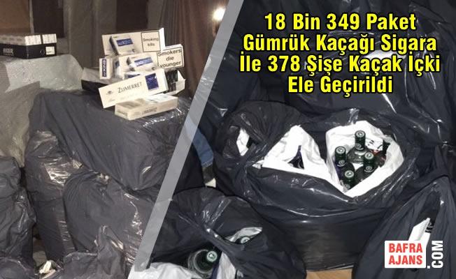 Samsun'da Kaçak Sigara ve İçki Operasyonu; 1 Tutuklama