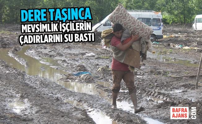 Dere Taşınca Mevsimlik İşçilerin Çadırlarını Su Bastı