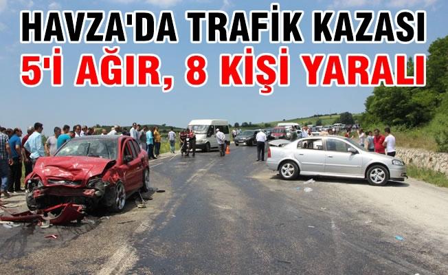 Havza'da Trafik Kazası; 5'i Ağır 8 Kişi Yaralı