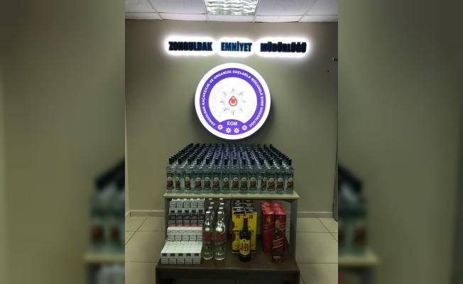 Zonguldak'ta kaçak içki ve sigara operasyonu