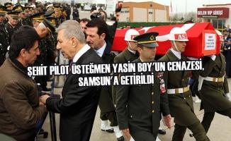 Şehit Pilot Üsteğmen Yasin Boy'un Cenazesi, Samsun'a Getirildi