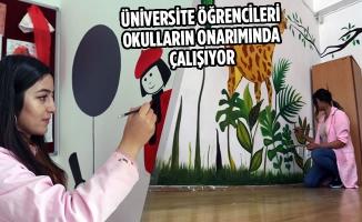 Üniversite Öğrencileri Okulların Onarımında Çalışıyor