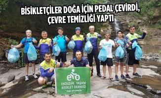 Bisikletçiler Doğa İçin Pedal Çevirdi, Çevre Temizliği Yaptı