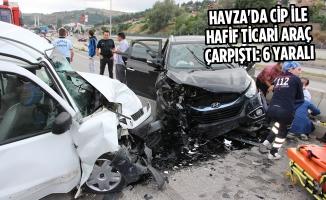 Havza'da Cip İle Hafif Ticari Araç Çarpıştı: 6 Yaralı
