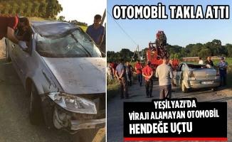 Yeşilyazı'da Virajı Alamayan Otomobil Hendeğe Uçtu