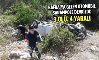 Bafra'ya Gelen Otomobil Şarampole Devrildi: 3 Ölü, 4 Yaralı
