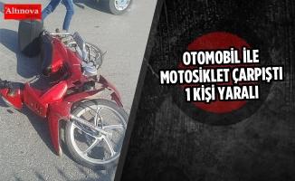 Otomobil İle Motosiklet Çarpıştı; 1 Yaralı