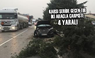 Karşı Şeride Geçen Tır İki Araçla Çarpıştı: 4 Yaralı