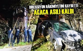 Direksiyon Hâkimiyetini Kaybetti, Ağaca Asılı Kaldı