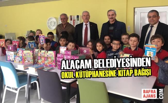 Alaçam Belediyesinden Okul Kütüphanesine Kitap Bağışı