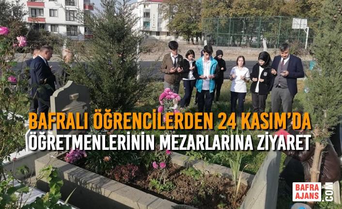 Bafralı Öğrencilerden 24 Kasım'da Öğretmenlerinin Mezarlarına Ziyaret
