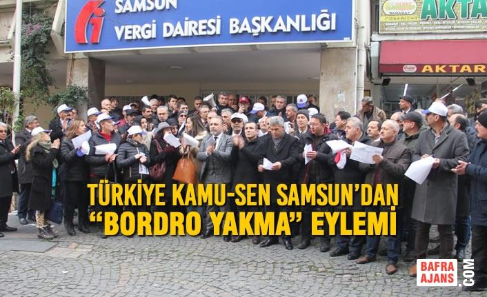 """Türkiye Kamu-Sen Samsun'dan """"Bordro Yakma"""" Eylemi"""