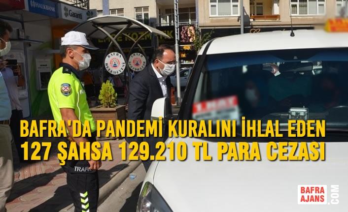 Bafra'da Pandemi Kuralını İhlal Eden 127 Şahsa 129.210 Tl Para Cezası