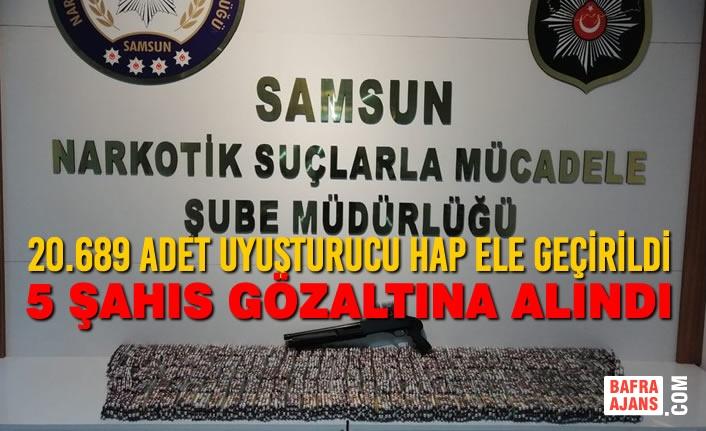 Samsun'da 20.689 Adet Uyuşturucu Hap Ele Geçirildi, 5 Şahıs Gözaltına Alındı