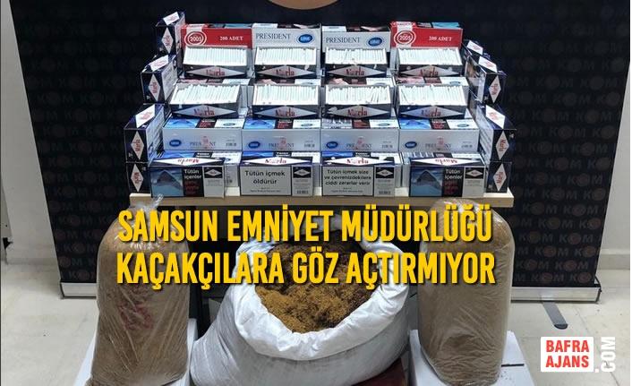 Samsun'da Kaçak Sigara ve Tütün Ele Geçirildi