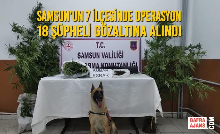 Samsun'un 7 İlçesinde Operasyon; 18 Şüpheli Gözaltına Alındı