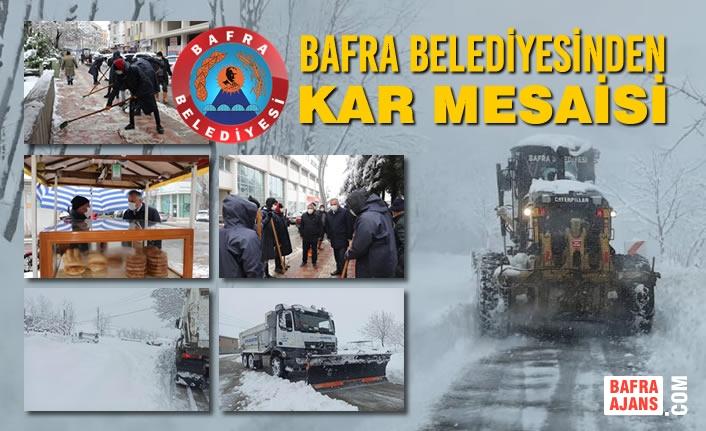 Bafra Belediyesinden Kar Mesaisi