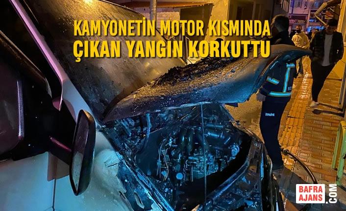 Kamyonetin Motor Kısmında Çıkan Yangın Korkuttu
