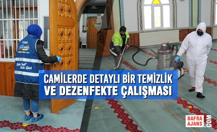 Canik'te Camilerde Detaylı Bir Temizlik ve Dezenfekte Çalışması