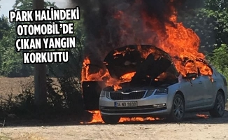 Park Halindeki Otomobil'de Çıkan Yangın Korkuttu