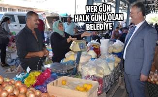 Başkan Osman Topaloğlu Pazar Esnafını Ziyaret Etti