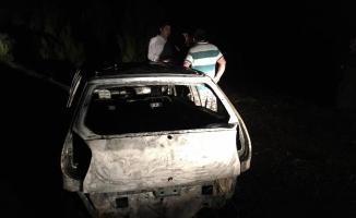 Karabük'te seyir halindeki otomobil yandı