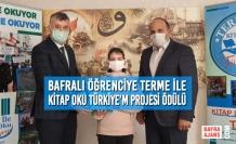 Bafralı Öğrenciye Terme İle Kitap Oku Türkiye'm Projesi Ödülü
