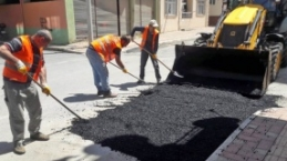 Bafra'da Asfalt Yama Çalışmaları Başladı