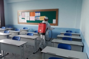 Bafra Belediyesi YKS Öncesi Okulları Dezenfekte Ediyor