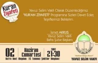 Yavuz Selim Vakfı'ndan Kuran Ziyafeti Programı