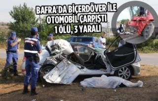 Bafra'da Biçerdöver İle Otomobil Çarpıştı:...