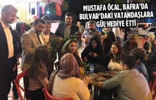 Öcal, Bafra'da Bulvar'daki Vatandaşlara Gül...