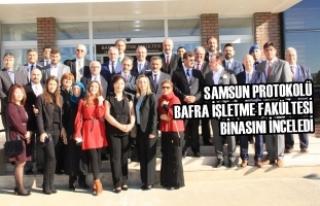 Protokol; Bafra İşletme Fakültesi Binasını İnceledi