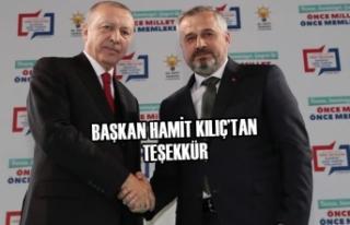 Belediye Başkanı Hamit Kılıç'tan Teşekkür