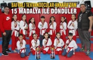 Bafralı Tekvandocular Ankara'dan 15 Madalya...