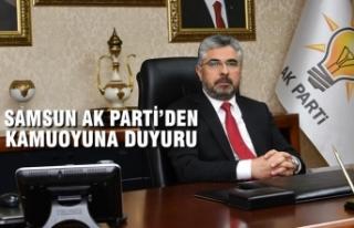 Samsun AK Parti'den Basına Ve Kamuoyuna Duyuru
