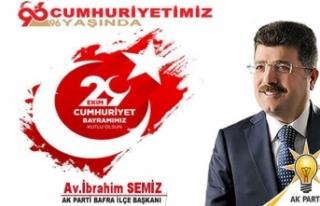 Başkan Semiz'den 'Cumhuriyet Bayramı' mesajı
