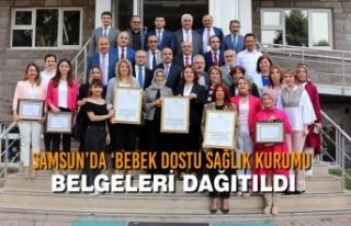 Samsun'da 'Bebek Dostu Sağlık Kurumu' Belgeleri...