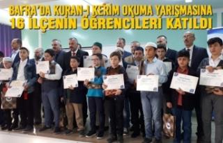 16 İlçe Bafra'da Kuran-I Kerim Okuma Yarışmasına...