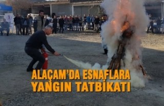 Alaçam'da Esnaflara Yangın Tatbikatı