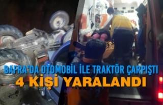 Bafra'da Otomobil İle Traktör Çarpıştı;...