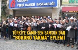 """Türkiye Kamu-Sen Samsun'dan """"Bordro Yakma""""..."""