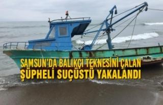 Samsun'da Balıkçı Teknesini Çalan Şüpheli...