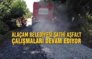 Alaçam Belediyesi Sathi Asfalt Çalışmaları Devam...
