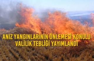 Anız Yangınlarının Önlemesi Konulu Valilik Tebliği...