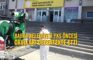 Bafra Belediyesi YKS Öncesi Okulları Dezenfekte...