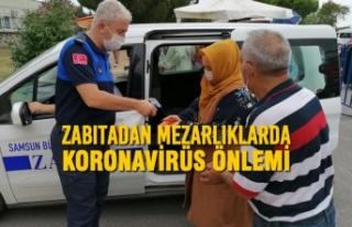 Zabıtadan Mezarlıklarda Koronavirüs Önlemi